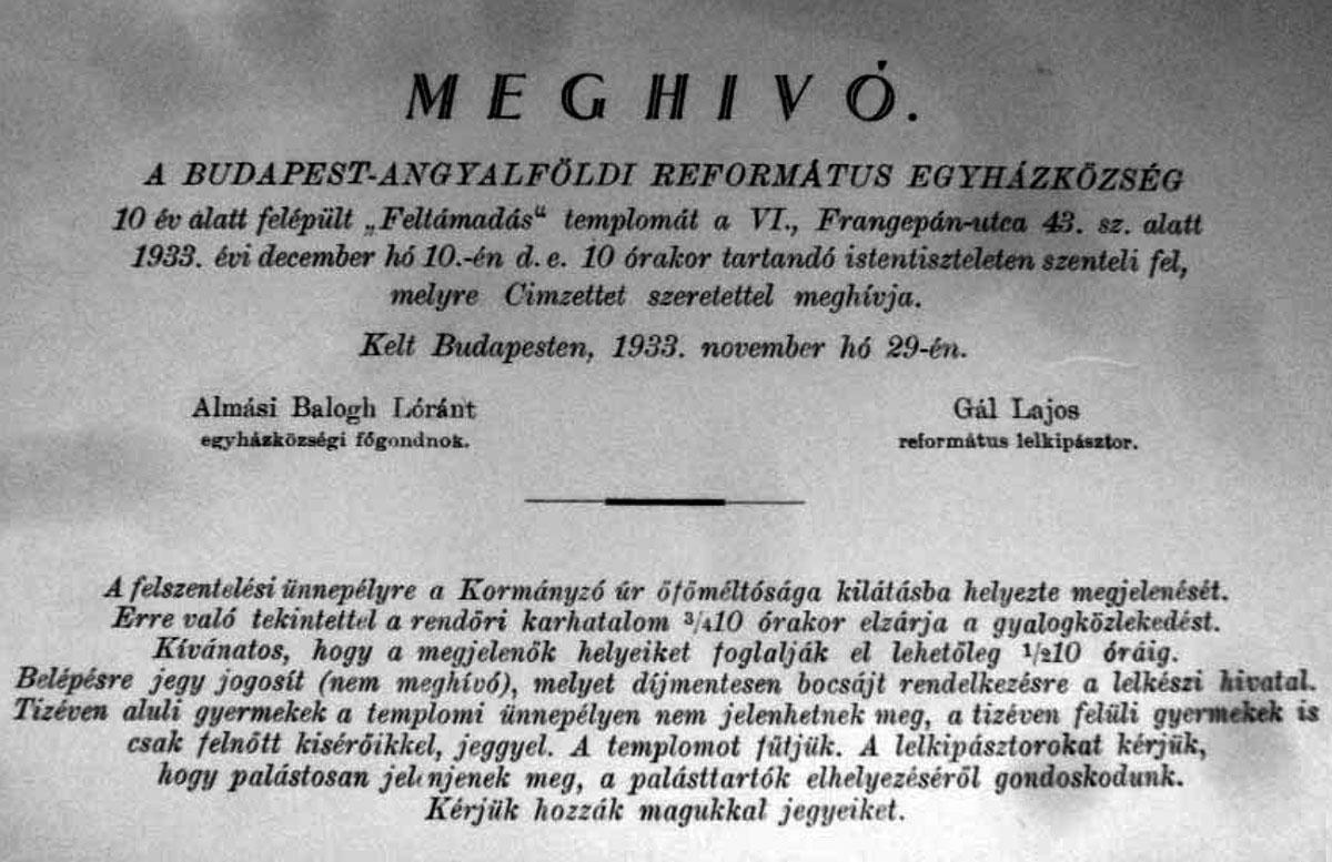 62800ece4b Padányi Gulyás Jenõ, Gothard Zsigmond   Angyalföldi Református templom    Kitervezte.hu